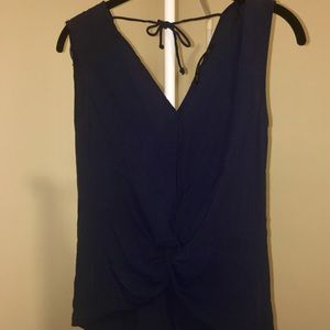 Zara Navy Twist Sleeveless Top